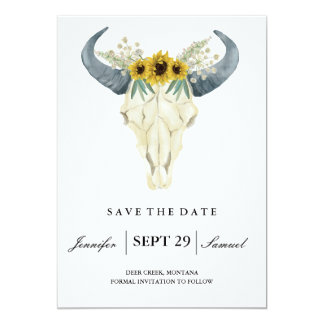 Watercolor Rustic Rodeo | Save the Date Sunflowers Card
