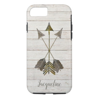 Watercolor Rustic Shiplap Rusted Metal Arrows Boho iPhone 8/7 Case