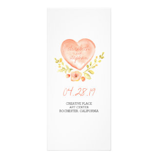 Watercolor rustic wedding programs 10 cm x 23 cm rack card