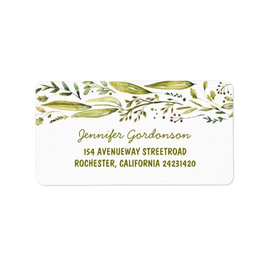 WATERCOLOR RUSTIC WOODLAND WEDDING ADDRESS LABEL