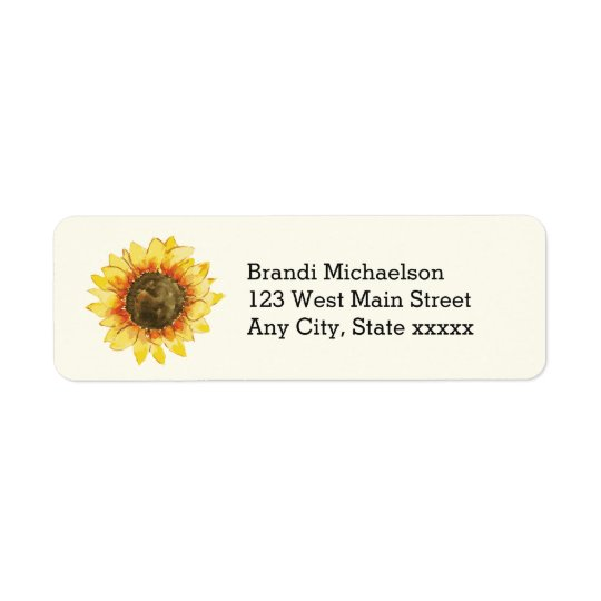 Watercolor Rustic Yellow Sunflower Floral Return Address Label