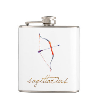 Watercolor Sagittarius Bow & Arrow Hip Flask