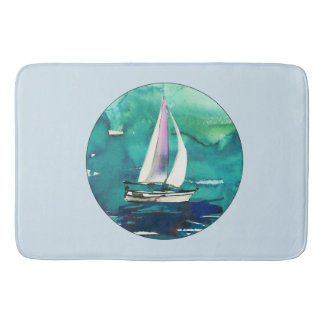 Watercolor Sailboat Bath Mat Bath Mats