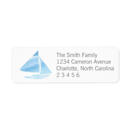 Watercolor Sailboat Blue Return Address Return Address Label
