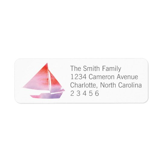 Watercolor Sailboat Girl Return Address Return Address Label