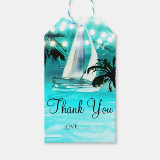 Watercolor Sailboat Palm Trees & String Lights Gift Tags