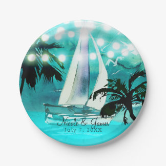Watercolor Sailboat Palm Trees & String Lights Paper Plate