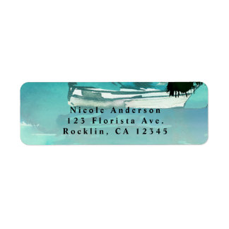 Watercolor Sailboat Palm Trees & String Lights Return Address Label