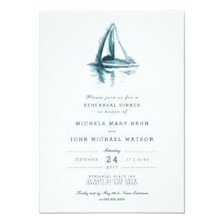 Watercolor Sailing Boat Rehearsal Dinner Invite