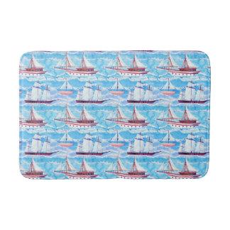 Watercolor Sailing Ships Pattern Bath Mat