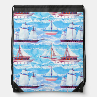 Watercolor Sailing Ships Pattern Drawstring Bag