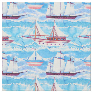 Watercolor Sailing Ships Pattern Fabric