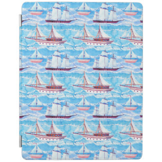 Watercolor Sailing Ships Pattern iPad Cover