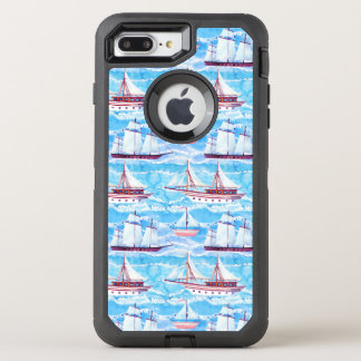 Watercolor Sailing Ships Pattern OtterBox Defender iPhone 8 Plus/7 Plus Case