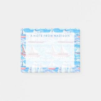 Watercolor Sailing Ships Pattern Post-it Notes
