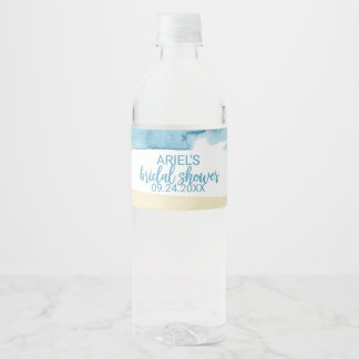 Watercolor Sand and Sea Bridal Shower Water Bottle Label