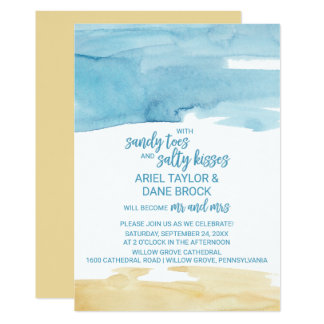 Watercolor Sand and Sea Salty Kisses Wedding Card
