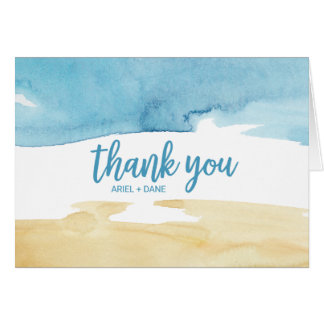 Watercolor Sand and Sea Thank You Card
