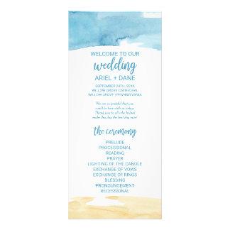 Watercolor Sand and Sea Wedding Program Rack Card