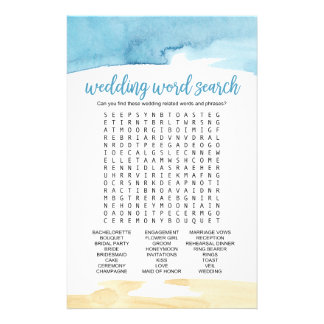 "Watercolor Sand and Sea ""Wedding Word Search"" Game 14 Cm X 21.5 Cm Flyer"