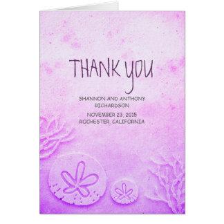 watercolor sand dollar beach wedding thank you card