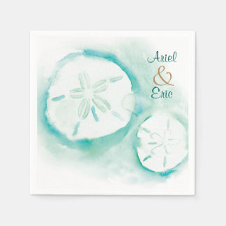 Watercolor Sand Dollar Wedding Paper Napkins