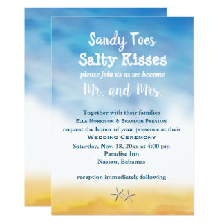 Watercolor Sandy Toes Wedding Invite - sky & sand
