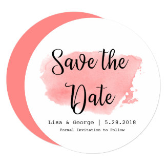 Watercolor Save the Date Coral Typography Card