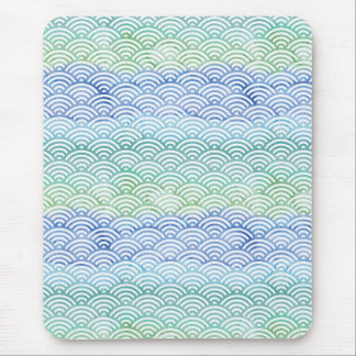 Watercolor Scallop Pattern Green Blue Geometric Mouse Pad