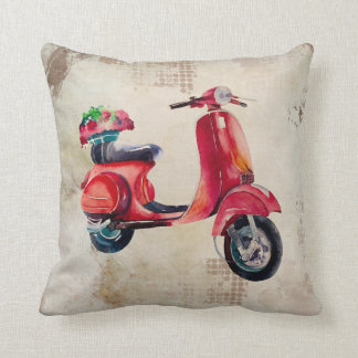 Watercolor Scooter in Red With Flowers On The Back Cushion