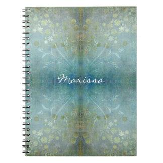 Watercolor Scroll Swirl Modern Flowers Textured Notebook