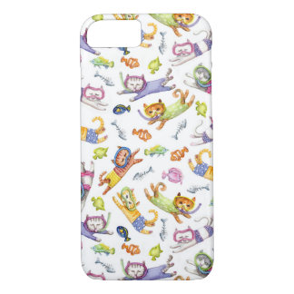 Watercolor Scuba Diving Cats Pattern iPhone 8/7 Case