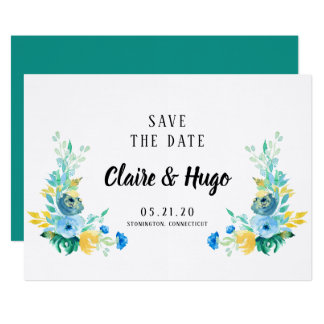 Watercolor Sea Blue Floral Save the Date Card