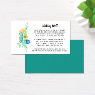 Watercolor Sea Blue Floral Wishing Well Business Card