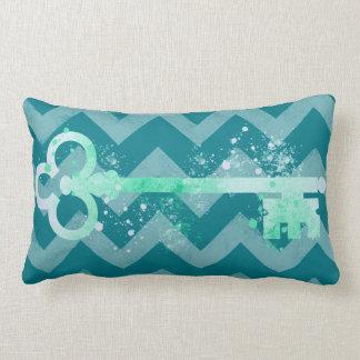 Watercolor Sea foam Green Ornate Key Chevrons Lumbar Pillow