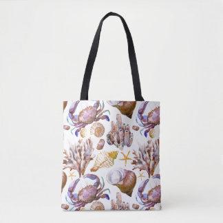 Watercolor Sea Life Pattern 4 Tote Bag