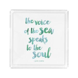 Watercolor Sea Quote Acrylic Tray