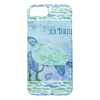 Watercolor Sea Turtle Ocean Modern Beach Art Blue iPhone 8/7 Case