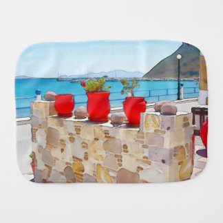 Watercolor sea view burp cloth