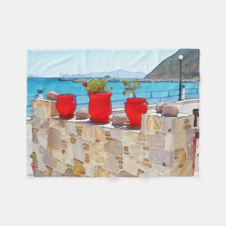Watercolor sea view fleece blanket