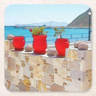 Watercolor sea view square paper coaster