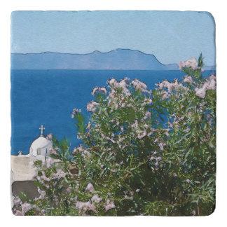 Watercolor sea view trivet