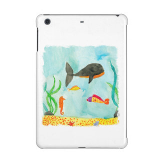 Watercolor Sea view with Whale and Seahorse