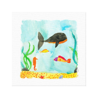 Watercolor Sea view with Whale and Seahorse Canvas Print