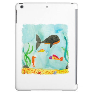 Watercolor Sea view with Whale and Seahorse Case For iPad Air