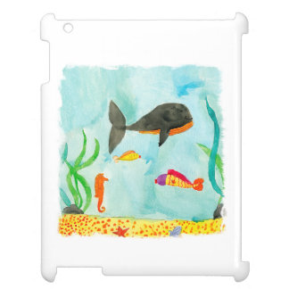 Watercolor Sea view with Whale and Seahorse Case For The iPad
