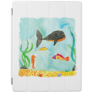 Watercolor Sea view with Whale and Seahorse iPad Cover