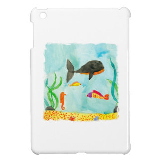 Watercolor Sea view with Whale and Seahorse iPad Mini Cases