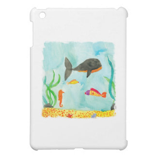 Watercolor Sea view with Whale and Seahorse iPad Mini Cover