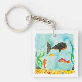 Watercolor Sea view with Whale and Seahorse Key Ring